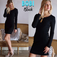 BOBI BLACK Ponte ANASTASIA LaceUp Sides Bodycon Dress