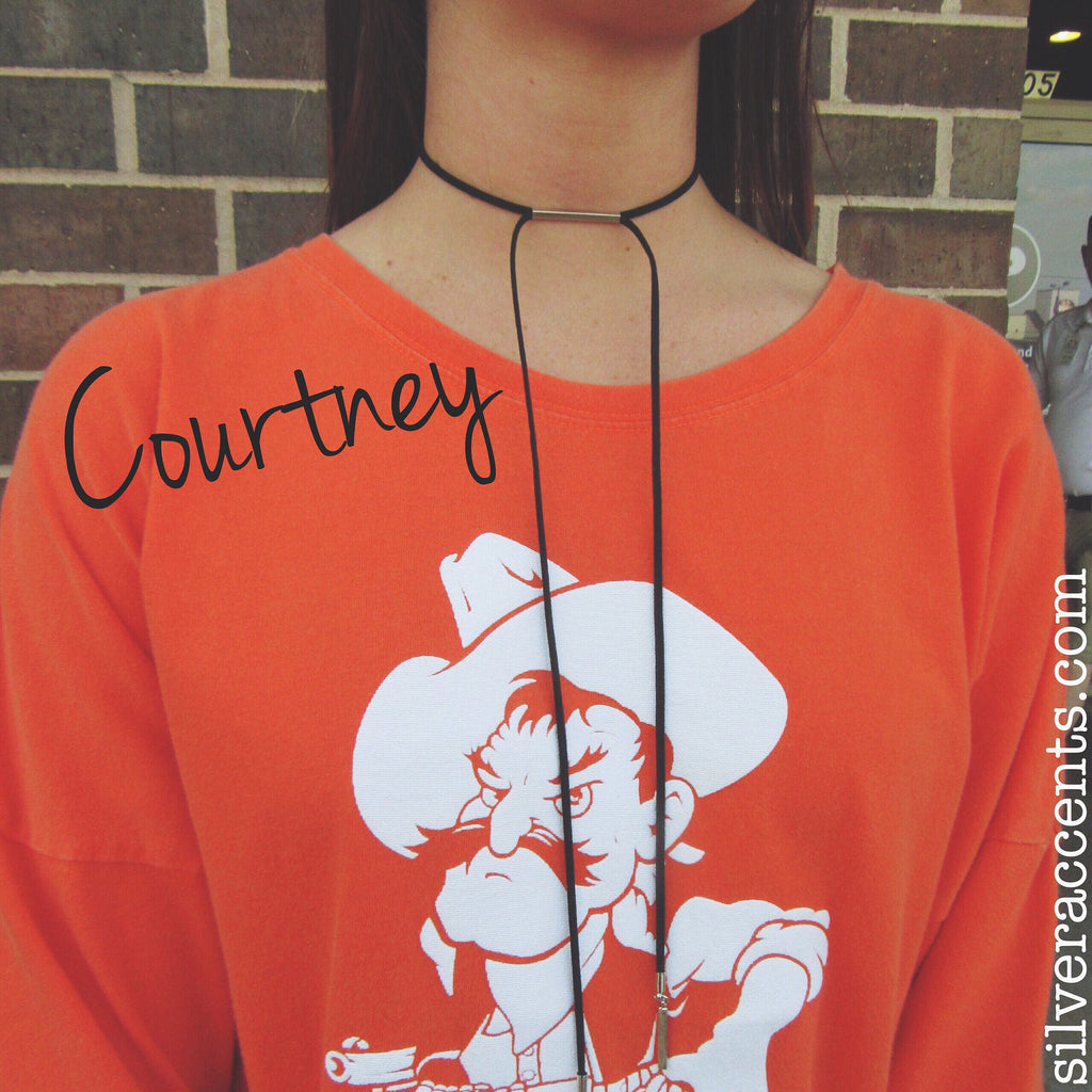 COURTNEY Choker Bar Suede Bolero Wrap Necklace