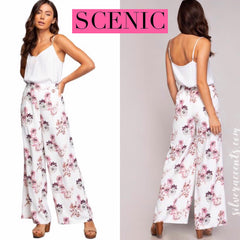SCENIC Floral Pleated WideLeg Chiffon Pant