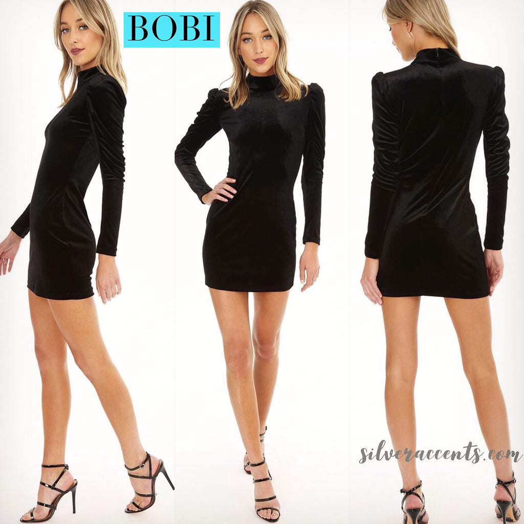BOBI BLACK Velour QUIVER RoucheSleeve HiNeck BodyCon Dress