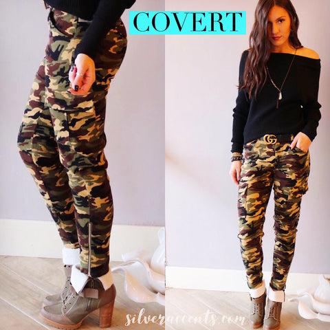 COVERT Camouflage Print HiRise Cargo Skinny Pant