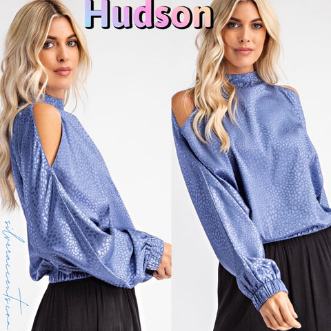 HUDSON HiNeck ColdShoulder SatinPrint Top