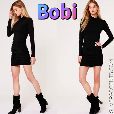 BOBI Modal Jersey LEGACYTurtleNeck ShirredBottom Dress