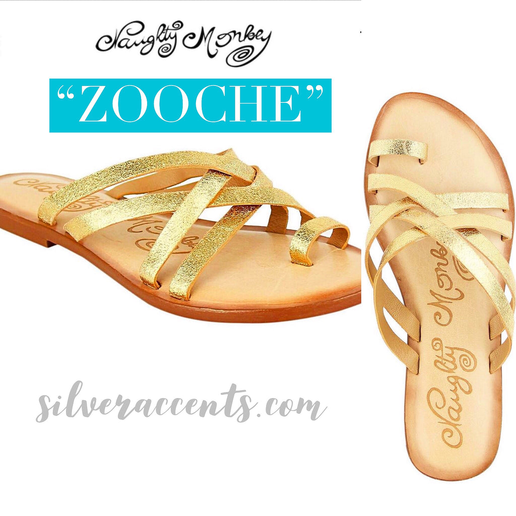 NAUGHTY MONKEY Gold Strappy ZOOCHE Metallic Sandal Shoe