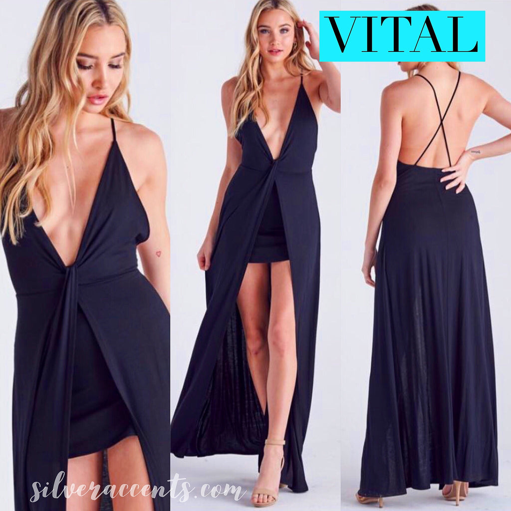 VITAL TwistFront DeepV-Neck Layered JerseyKnit Maxi Dress