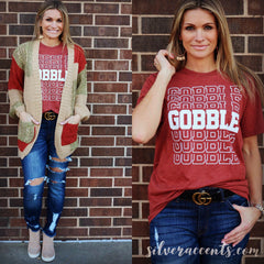 GOBBLE GOBBLE Repeat CrewNeck Triblend Tee Top