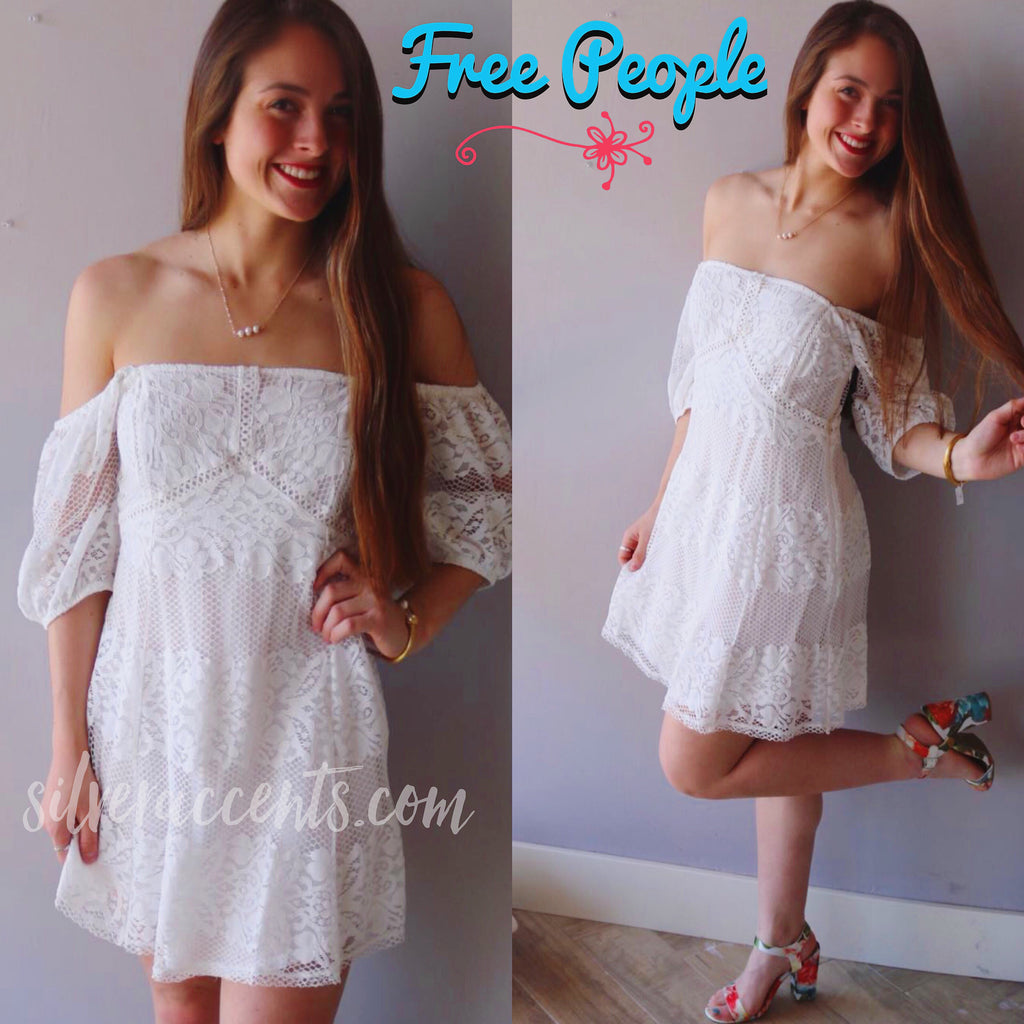 FREE PEOPLE Ivory BE YOUR BABY Lace OffShoulder Dress