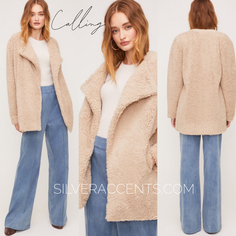 CALLING Faux Fur ButtonFront LongSleeve Jacket
