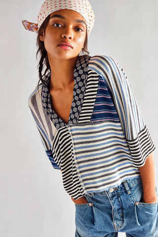 FREE PEOPLE MixPrint THE STRIPE IS RIGHT Top
