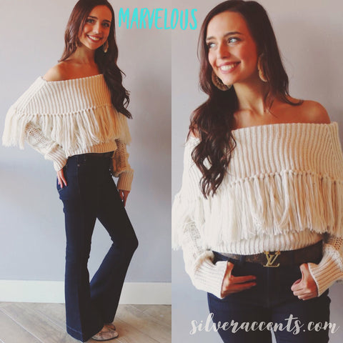 MARVELOUS OpenShoulder HiNeck Fringe Sweater Top