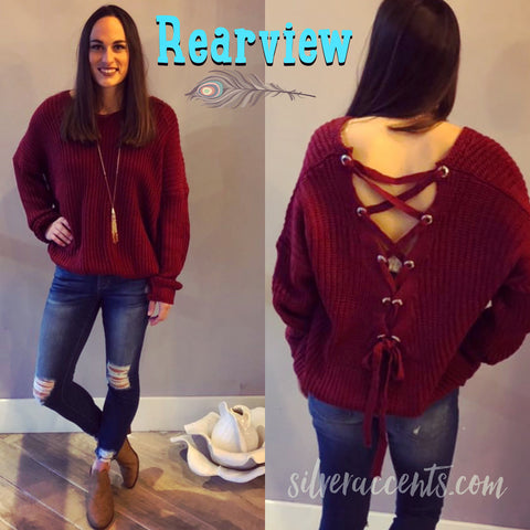 REARVIEW LaceUp Back Tunic Sweater Top