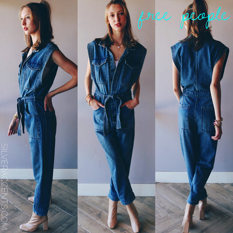 FREE PEOPLE Denim SYDNEY Coverall Jumpsuit