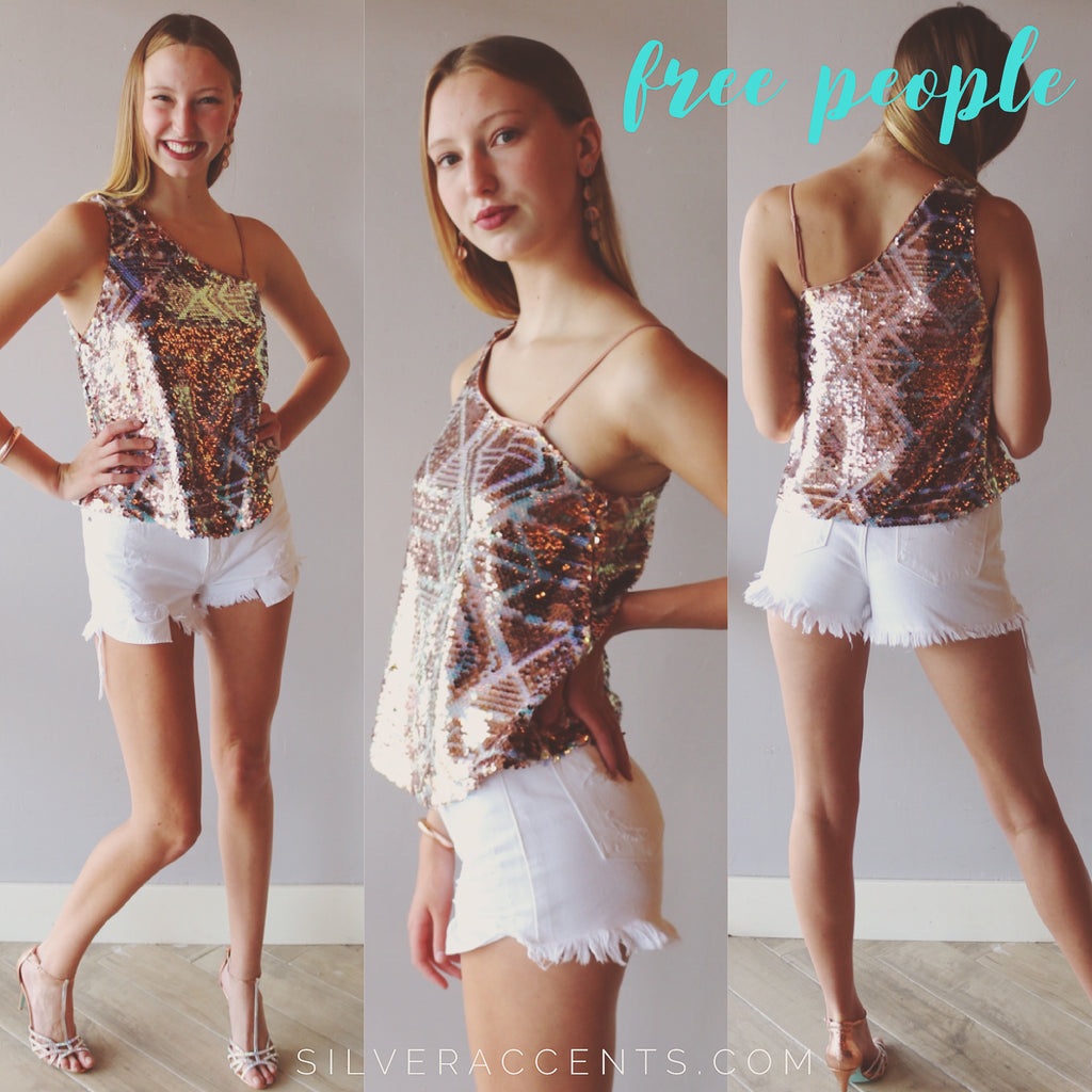 FREE PEOPLE One Shoulder DISCO FEVER Sequin Tank Top