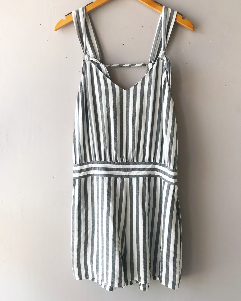 LOYOLA Stripe Shoulder Tie Short Romper