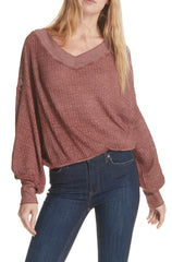 FREE PEOPLE V-Neck SOUTH SIDE Thermal Dolman Top