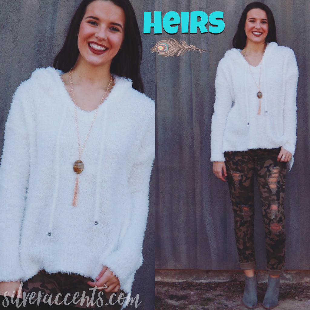 HEIRS Plush Berber Hoodie Pullover Top