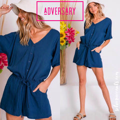 ADVERSARY Button Down Cuff Short Sleeve Romper