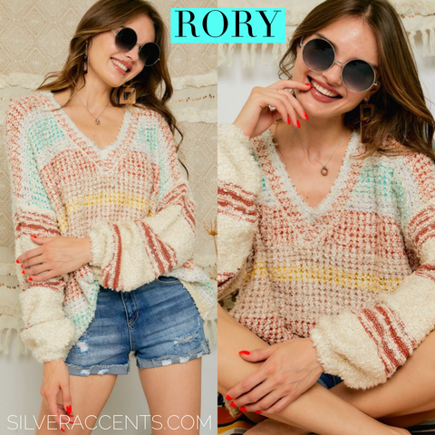 RORY ColorBlock PuffSleeve V-Neck Sweater Top
