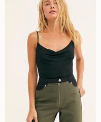 FREE PEOPLE CowlNeck COWLS IN THE CLUB Bodysuit TOP