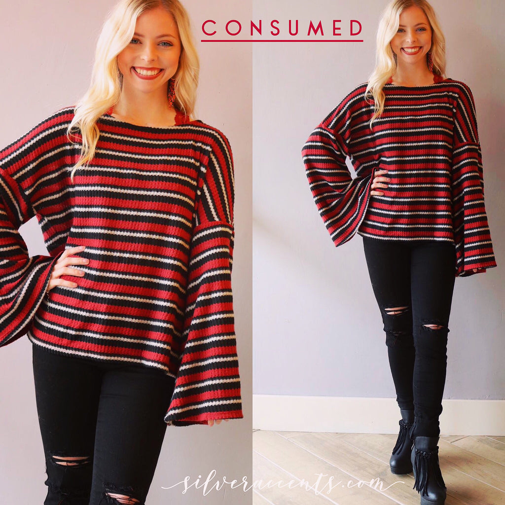 CONSUMED Stripe SuperSoft Knit BellSleeve Top