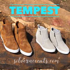 TEMPEST Perforated DoubleZip Wedge Sneaker Shoe