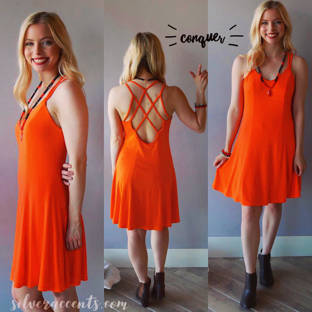 CONQUER Strappy Back Fit & Flare Jersey Knit Dress