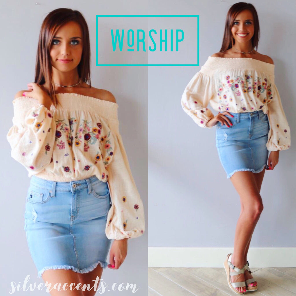 WORSHIP Embroider Floral Smock OffShoulder/Hem Woven Top