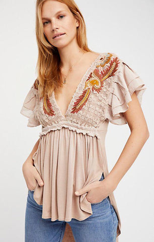 FREE PEOPLE Embroidered FIESTA NUEVA Tunic Top