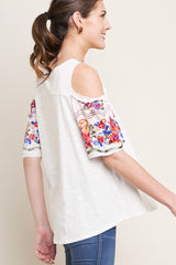 WONDERWALL Embroidered Floral Sleeve Cold Shoulder Knit Top