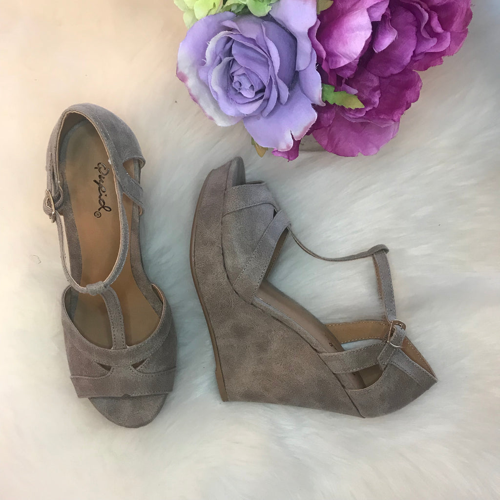 CAMBRIDGE Strappy Taupe Wedge Shoe