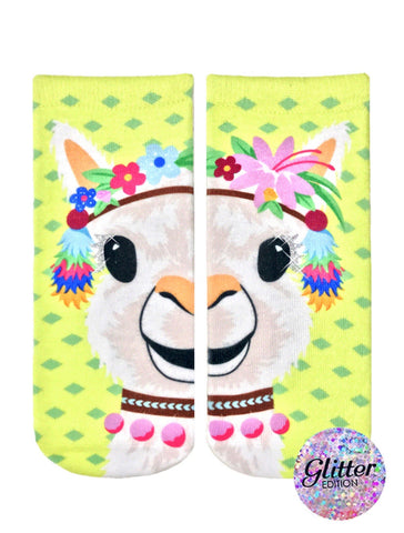 LIVING ROYAL Glitter PARTY LLAMA Ankle Socks