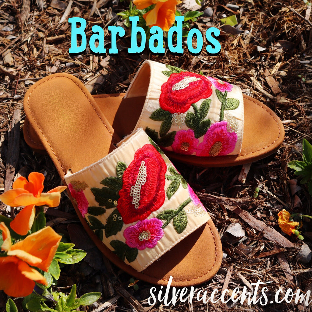 BARBADOS Floral Embroider Slide Sandal Shoes