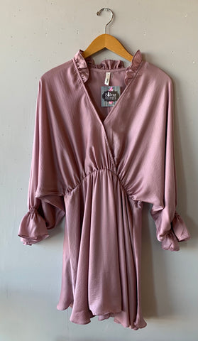 CARLISLE Ruffle V~Neck Surplice Babybell Sleeve Dress
