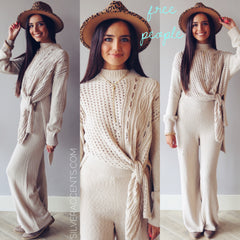 FREE PEOPLE 2Piece HARPER Tie Sweater/Pants Set