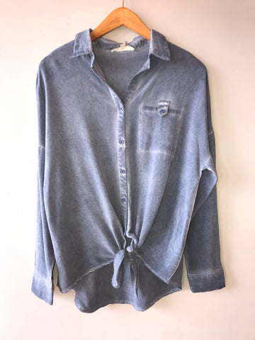 TIMELINE Mineral Wash Button Down Tie Bottom Top