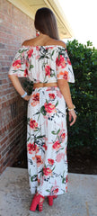 CALEDONIA Floral Ivory Two Piece Maxi Dress