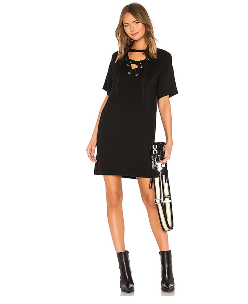 BOBI GOALS Lace Up V-Neck Mini Dress