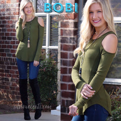 BOBI SuperSoft CUT IT OUT Thermal Cold Shoulder ScoopHem Top