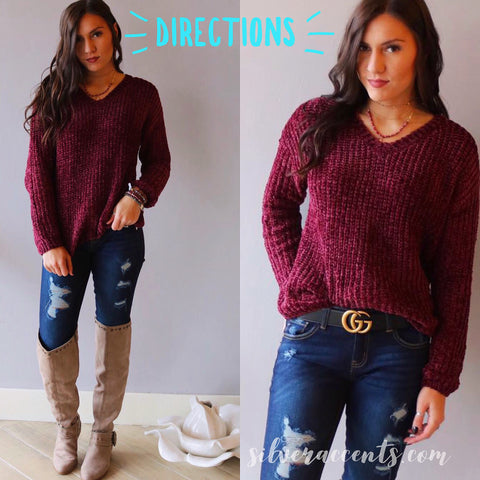 DIRECTIONS Chenille V-Neck Sweater Top