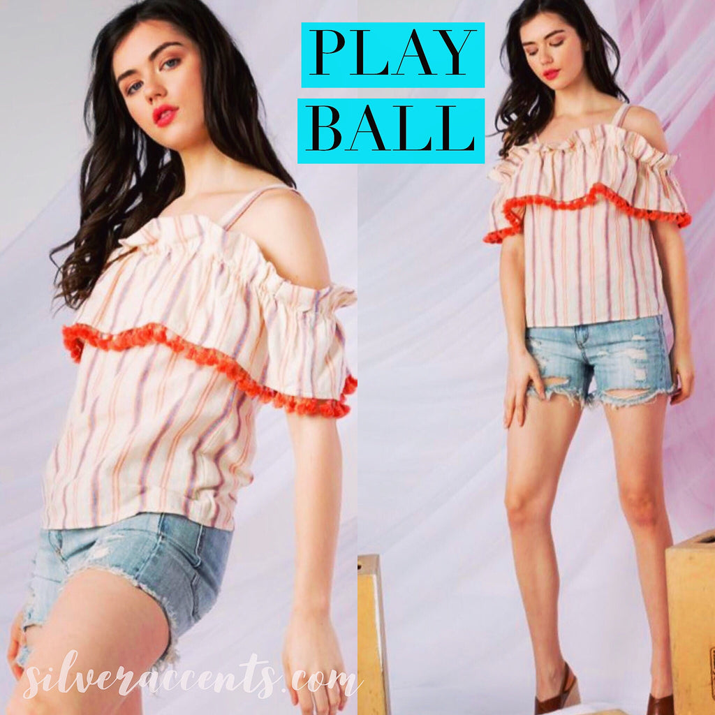 PLAY BALL Stripe Ruffle OffShoulder Tassel Trim Woven Top