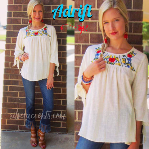 ADRIFT Embroidered Floral Yoke 3/4 Sleeve Gauze Top