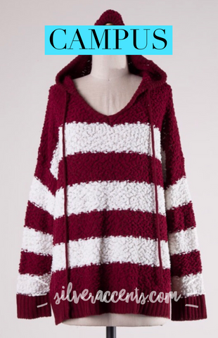 CAMPUS Stripe ColorBlock Popcorn Knit Hoodie Tunic Sweater