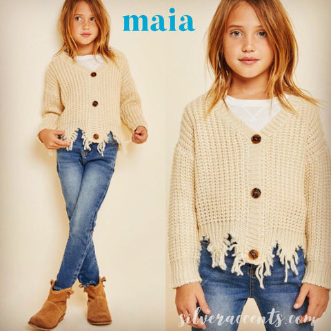 Maia DistressedHem ButtonDown RibKnit Girls' Cardigan Top