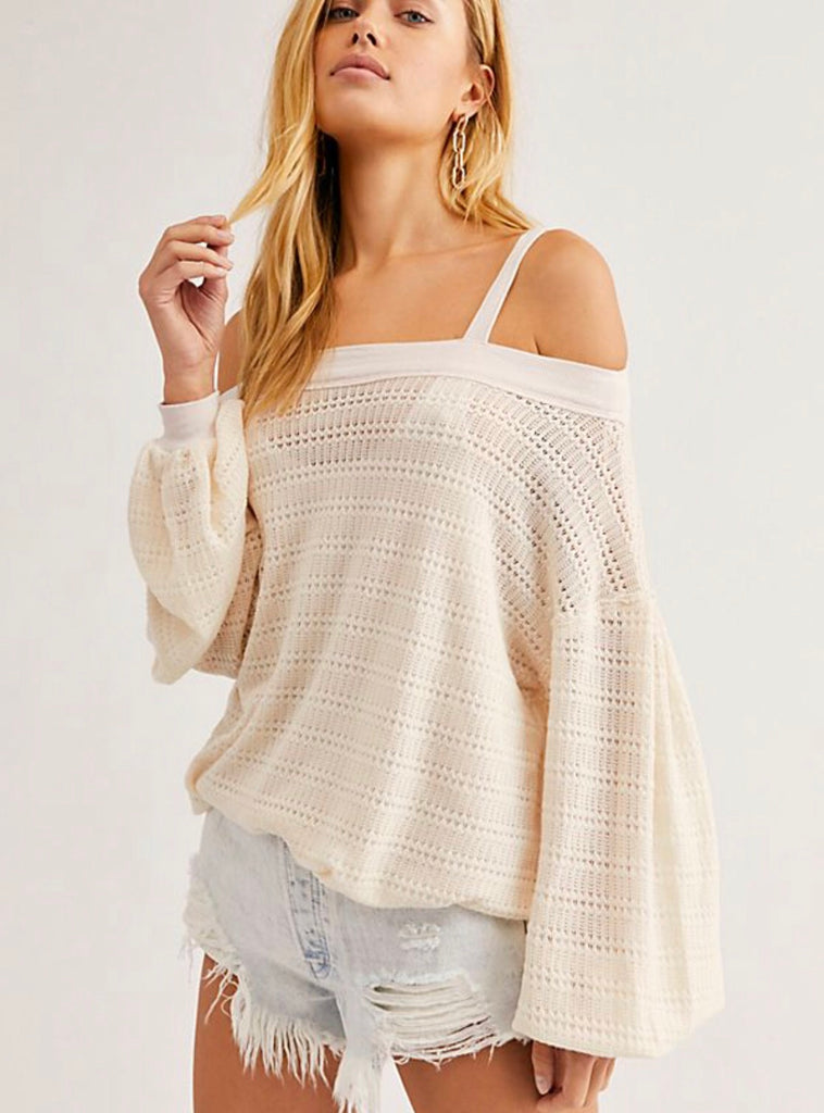 FREE PEOPLE ColdShoulder SISTINE Hacci Knit Top