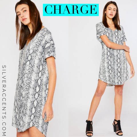 CHARGE Python V-Neck Knit Dolman ShortSleeve Dress