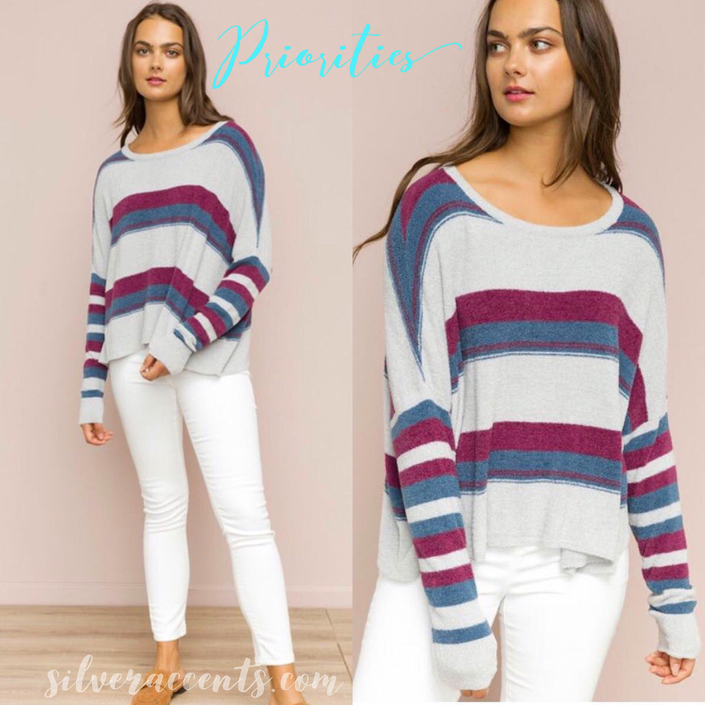 PRIORITIES ColorBlock Stripe Chenille DolmanSleeve Sweater