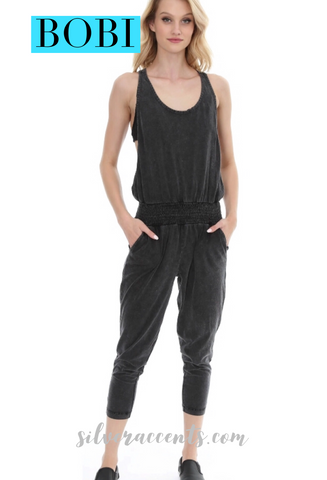 BOBI Black PROGRESS Distressed Jersey Smocked Tank Jumpsuit