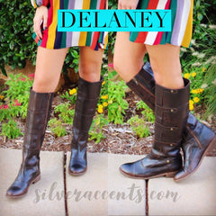 Very Volatile DELANEY Tall Flat Boots With Press Studs
