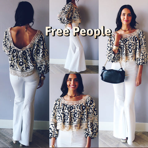 FREE PEOPLE Embroidered SOLEIL SquareNeck BalloonSleeve Top