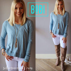 BOBI Slub Jersey SIDE OUT Crossed RibHem LongSleeve Top